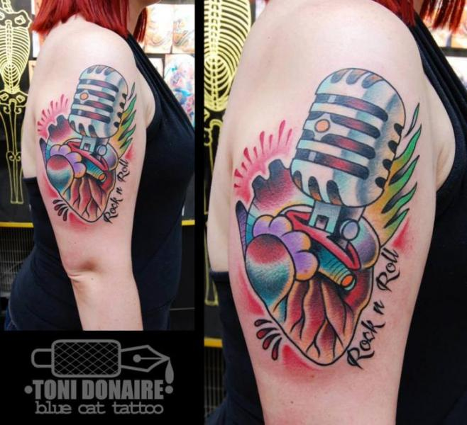 Shoulder Old School Microphone Tattoo by Tattoo Blue Cat