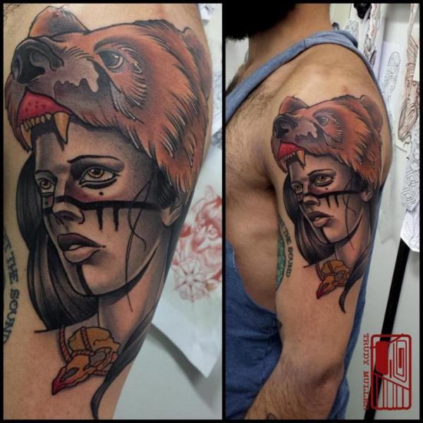 Shoulder Bear Woman Tattoo by Tattoo Blue Cat
