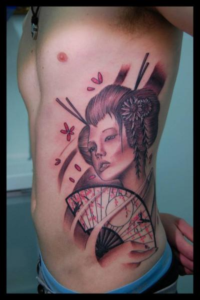 Side Japanese Geisha Tattoo by Tattoo Blue Cat