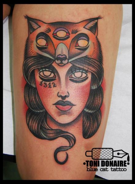 Old School Women Fox Thigh Tattoo by Tattoo Blue Cat