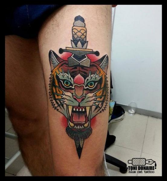 Tiger Dagger Thigh Tattoo by Tattoo Blue Cat
