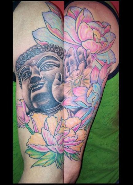 Arm Buddha Religious Tattoo by Tattoo Lucio
