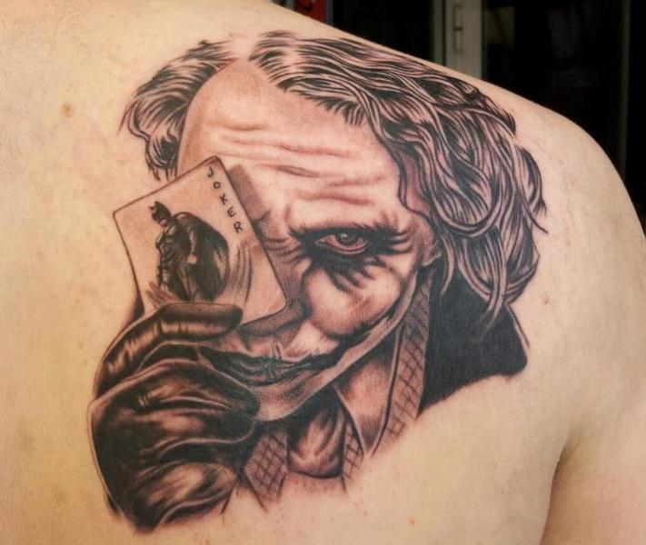 Fantasy Back Joker Tattoo by Tattoo Lucio