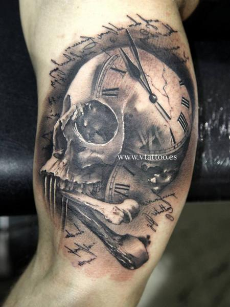 Arm Skull Tattoo by V Tattoos