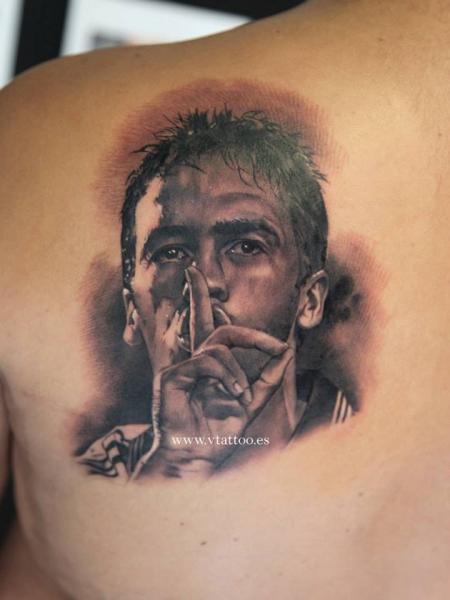 Shoulder Portrait Tattoo by V Tattoos