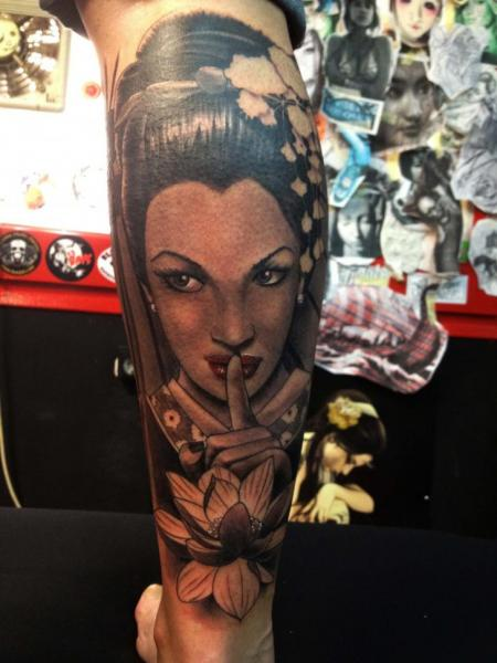 Arm Japanese Geisha Tattoo by Wanted Tattoo
