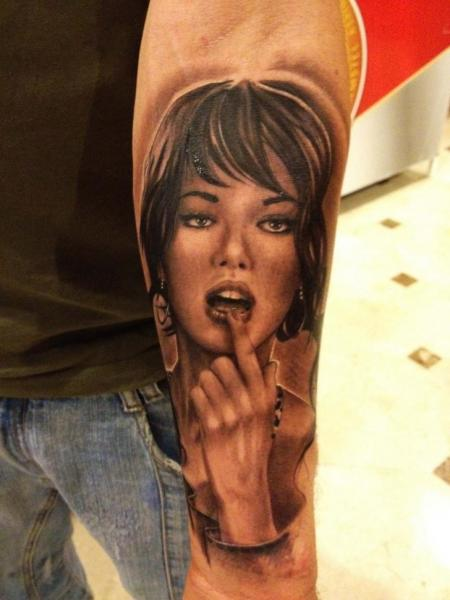 Arm Portrait Women Tattoo by Wanted Tattoo