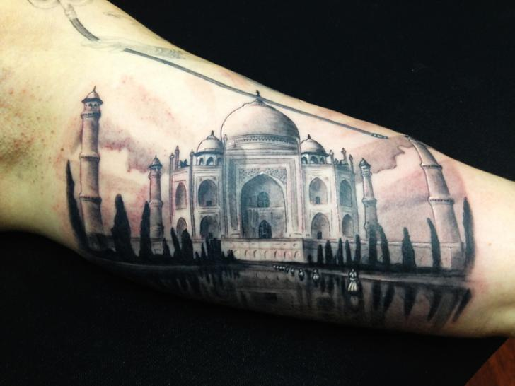 Arm Realistic Taj Mahal Tattoo by Wanted Tattoo