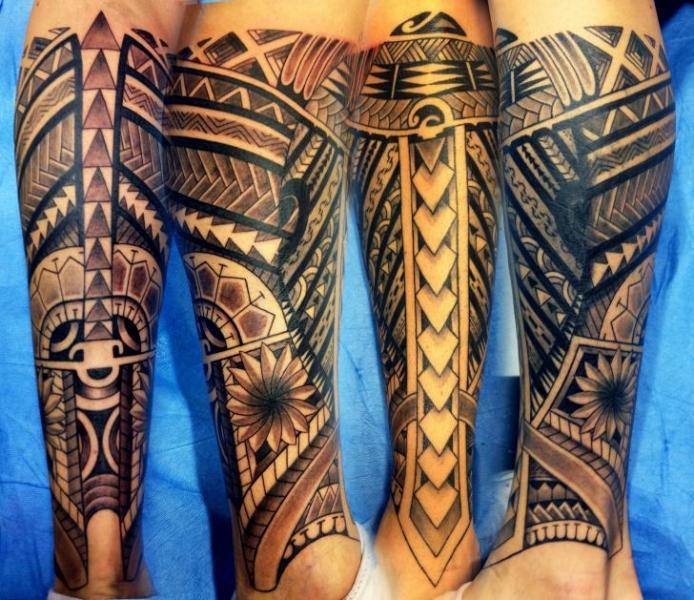 Calf Tribal Tattoo by Wanted Tattoo