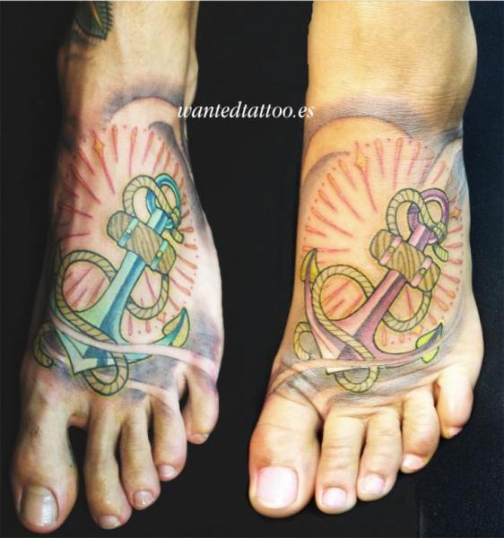 New School Foot Anchor Tattoo by Wanted Tattoo