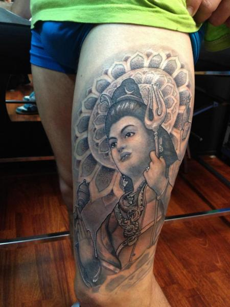 Religious Thigh Tattoo by Wanted Tattoo