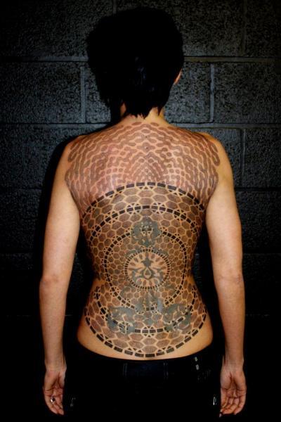 Back Dotwork Tattoo by Beautiful Freak