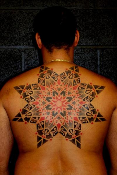 Star Back Dotwork Tattoo by Beautiful Freak