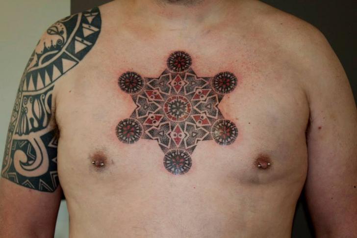 Chest Dotwork Geometric Tattoo by Beautiful Freak