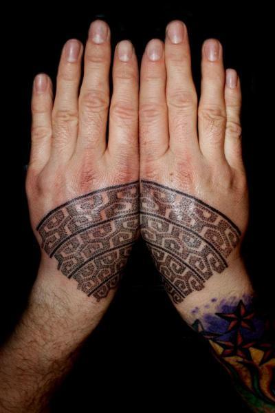 Hand Dotwork Tattoo by Beautiful Freak