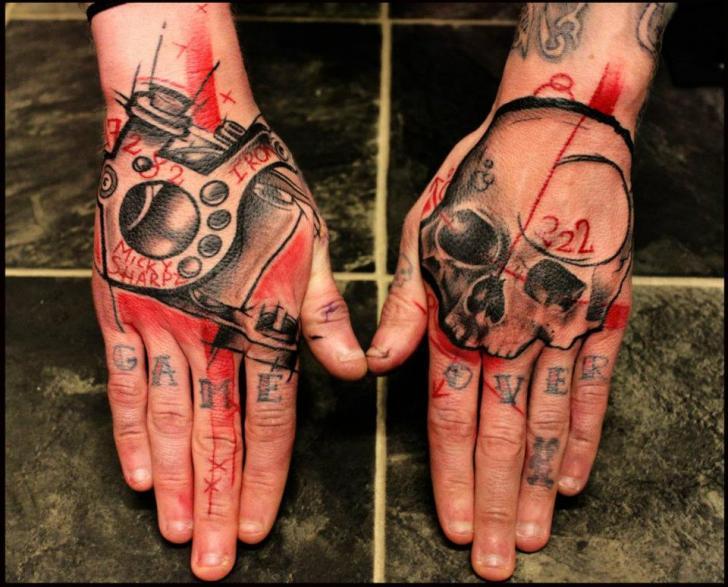 Skull Hand Trash Polka Tattoo by Beautiful Freak