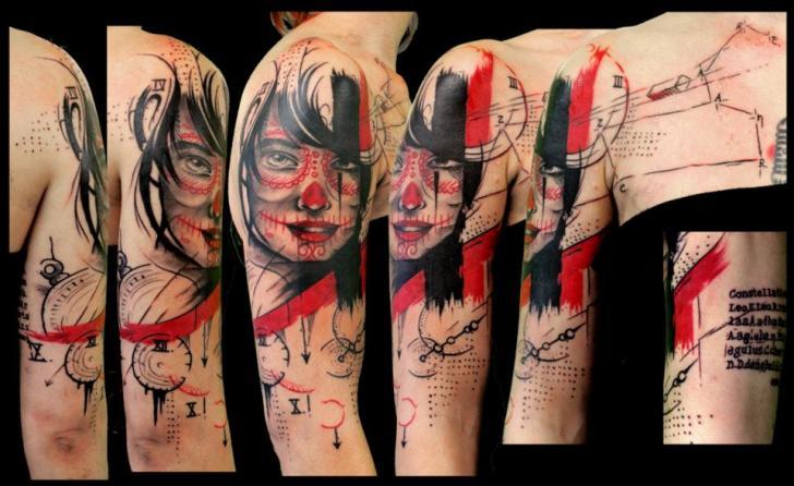 Schulter Arm Mexikanischer Totenkopf Tattoo von Beautiful Freak