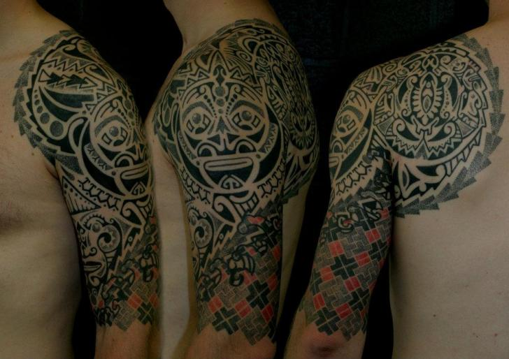Shoulder Tribal Dotwork Tattoo by Beautiful Freak