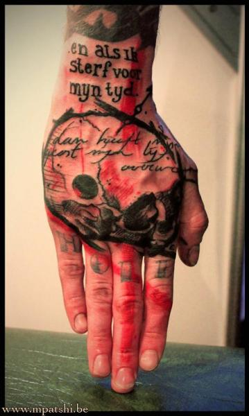 Lettering Skull Hand Trash Polka Tattoo by Beautiful Freak