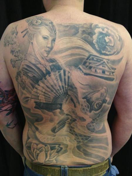 Japanese Women Back Carp Tattoo by Mia Tattoo