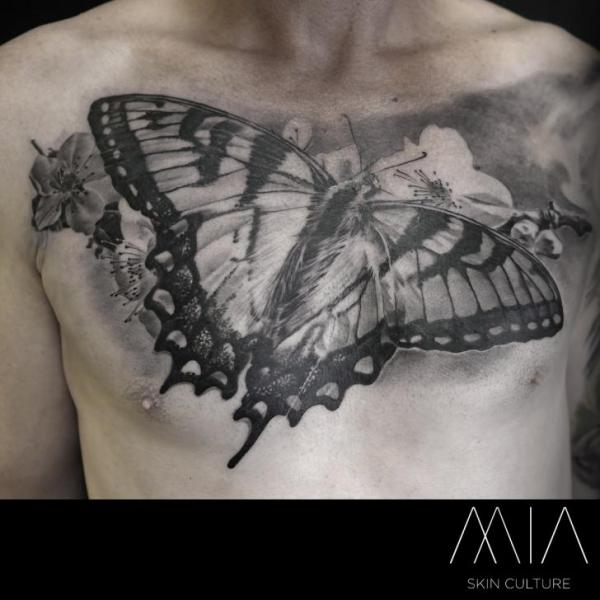 Chest Butterfly Tattoo by Mia Tattoo