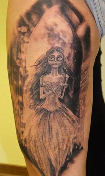 Tim Burton Thigh Tattoo by Mia Tattoo