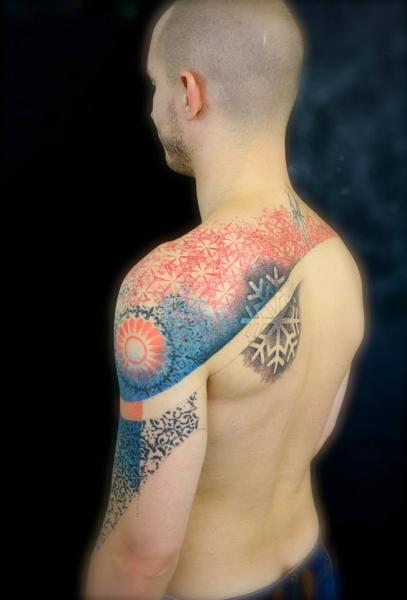 Shoulder Back Dotwork Geometric Tattoo by L'Art Du Point
