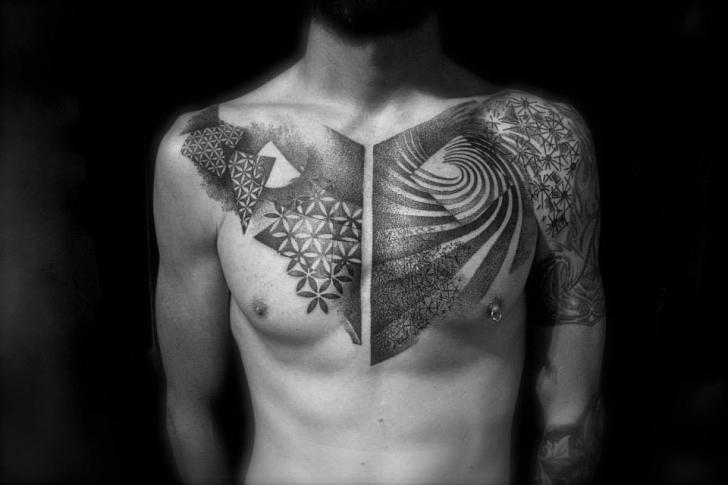 Chest Dotwork Tattoo by L'Art Du Point
