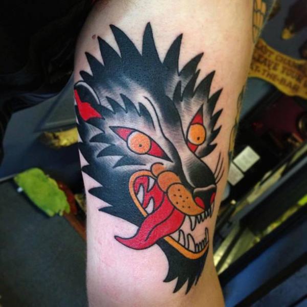 Arm Old School Wolf Tattoo by North Side Tattooz