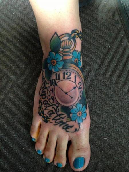 Clock New School Foot Tattoo By North Side Tattooz