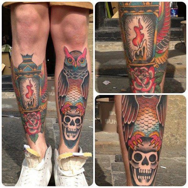 New School Leg Skull Owl Lamp Tattoo by North Side Tattooz
