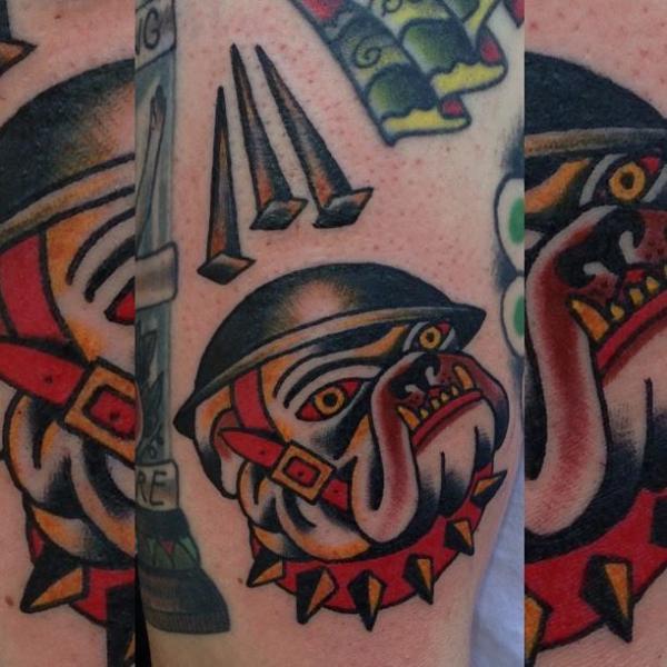 Old School Dog Tattoo by North Side Tattooz