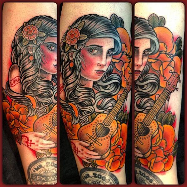Arm New School Gypsy Tattoo by Mikael de Poissy