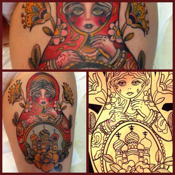 Tatuaggio New School Matriosca di Mikael de Poissy