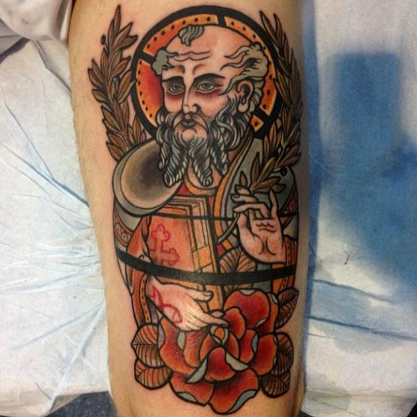 New School Religious Tattoo by Mikael de Poissy