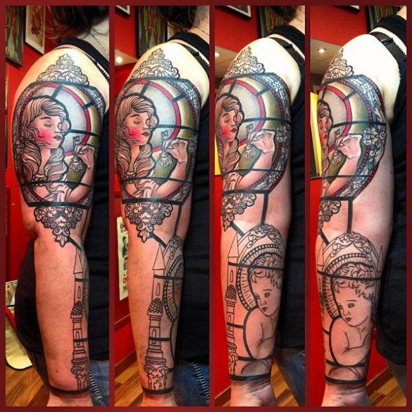 Shoulder Arm New School Religious Tattoo by Mikael de Poissy