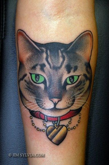 Arm Cat Tattoo by Jim Sylvia