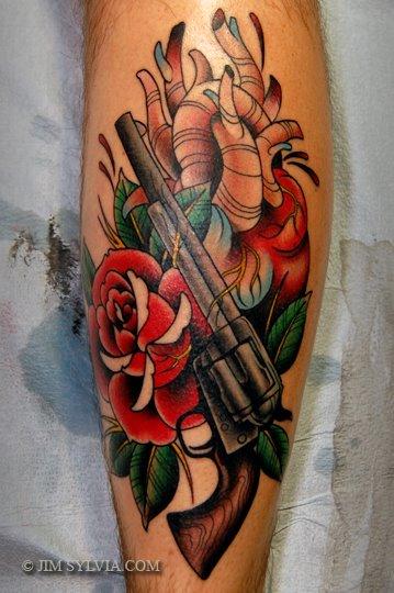 Arm Old School Heart Gun Tattoo by Jim Sylvia