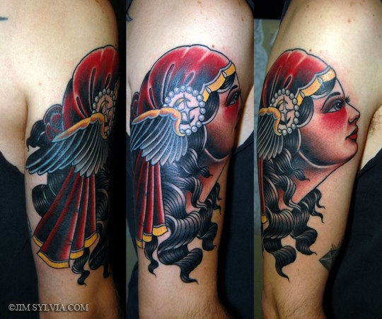 Arm Old School Kopf Tattoo von Jim Sylvia