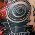 Arm Old School Train tattoo by Jim Sylvia