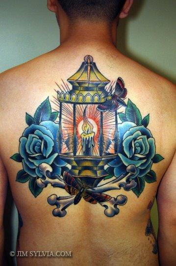New School Flower Back Lamp Tattoo by Jim Sylvia