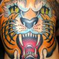 tatuaje New School Tigre por Jim Sylvia