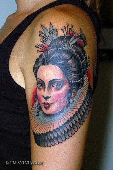 Shoulder Old School Women Tattoo by Jim Sylvia
