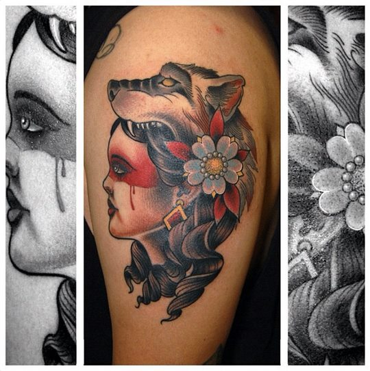 Shoulder Old School Women Wolf Tattoo by Jim Sylvia