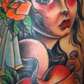 Shoulder Old School Neck Gypsy tattoo by Jim Sylvia