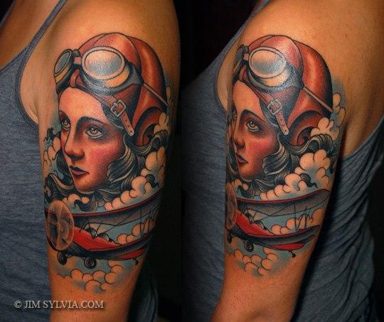 Shoulder New School Aviator Tattoo by Jim Sylvia