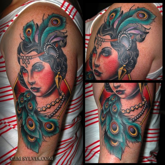 Shoulder New School Feather Women Tattoo by Jim Sylvia