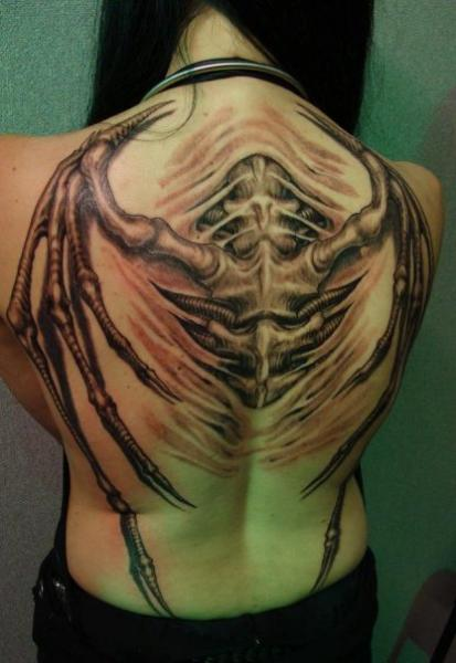 Biomechanical Back Wings Tattoo by Nephtys de l'Etoile
