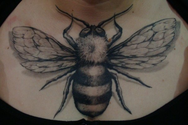 Realistic Breast Bee Tattoo by Nephtys de l'Etoile
