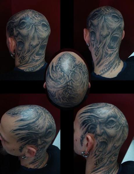 Tatuaje Biomecánica Cabeza por Nephtys de l'Etoile
